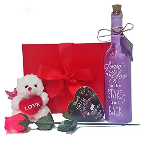 Valentines Gift Set with Light Up Rose, Starlight Bottle, Lindt Heart and Red Teddy Bear in Scarlet Gift Box ()