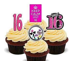 16th Birthday Girl Sweet 16 Edible Cupcake Toppers Standup