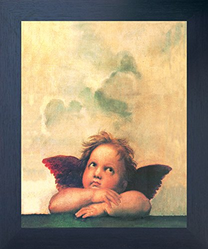 - Impact Posters Gallery Framed Wall Decoration Raphael Right Cherub Little Angel of Sistine Madonna Espresso Framed Art Print Picture (20x24)