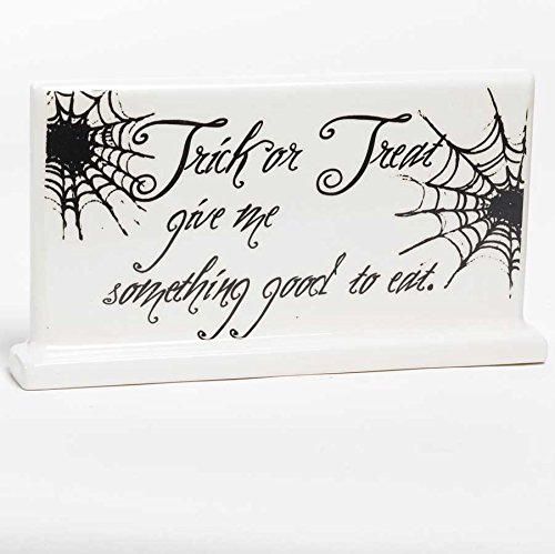 Trick or Treat Good To Eat Spiderweb Ceramic Sign Halloween Decor 9' NIP for $<!--$9.99-->