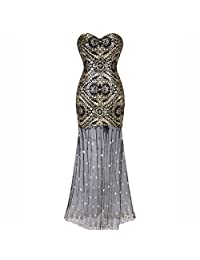 Nightycatty Women's Mermaid Sequins Dress 1920s Vintage Patterned Prom Dress