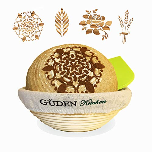 Güden Artisan Bread Kit: 10 inch Banneton Round Blotform Proofing Natural Rattan Basket, Bowl Scraper, Linen Liner, and 4 European Bread Stencils ()