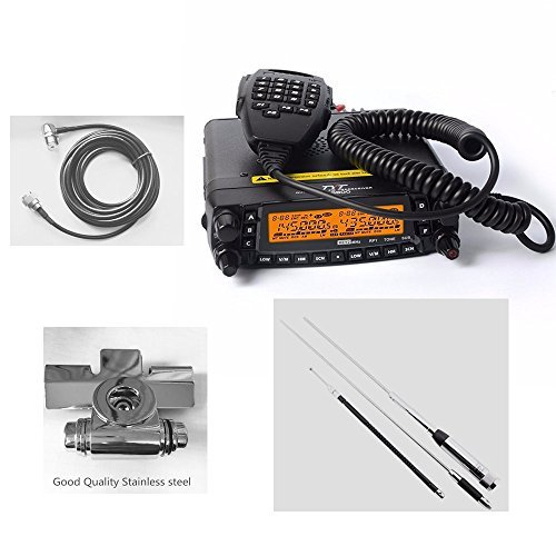 1704A Newest Updated Version TYT TH-9800 plus 50W Quad Band Cross Repeater Car Truck Radio Transceiver with Programming Cable & 5M Coax Cable & Stainless Clip mount