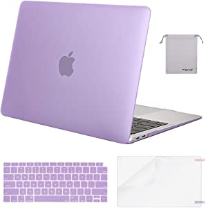MOSISO MacBook Air 13 inch Case 2020 2019 2018 Release A2179 A1932 with Retina Display, Plastic Hard Shell&Keyboard Cover&Screen Protector&Storage Bag Compatible with MacBook Air 13, Light Purple