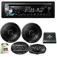 Pioneer DEH-X3900BT CD Player w/ Pioneer TSG1645R 6.5 2 Way Speakers 250W (Pair), Pioneer TSA6966R 6x9 420W 3-Way Speaker (Pair), Autotek TA10504 1000W, 4 Chan Amp, Enrock EAKIT8G 8G Amp Kit