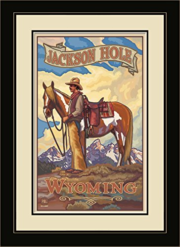 Northwest Art Mall PAL-0047 MFGDM JHC Jackson Hole Wyoming Cowboy Framed Wall Art by Artist Paul A.Lanquist, 13 by 16-Inch (Jackson Shopping Mall)