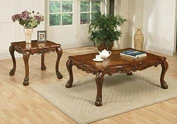 Acme 12165 Dresden Coffee Table, Cherry Oak Finish