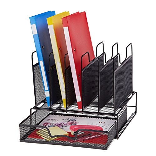 ProAid Office Mesh Desktop Organizer with 5 Vertical Sections, Desk File Organizer with 1 Drawer, Suitable for Organizing Files, Magazines, A4 Papers and Desk Accessories, Black by ProAid