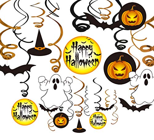 jollylife 30Ct Halloween Hanging Swirl Ceiling Haunted House Decorations Family Kid Friendly - Pumpkin/Witches /Hats/Bats /Ghost Party Supplies Creepy -