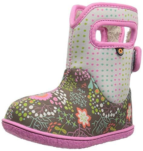 Bogs Baby Snow Boot, New Flower dot Gray Multi, 7 Medium US Toddler