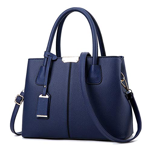 Casual Soft Blue b Womens Vintage Shoulder Retro Dark Capacity Bags handle Leather Top Tote Large Ruitian Handbags 5vqxZ5a
