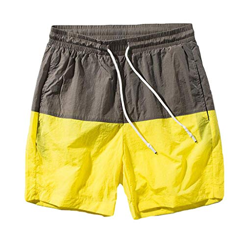 Seaintheson Men's Stitching Shorts,Summer Casual Sports Fitness Running Workout Pants Jogger Pants for Men Yellow