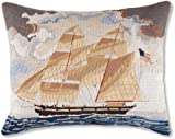 Handmade 100% Wool Colonial Williamsburg Tall American United States Ship Nantucket Beach Shore House Coastal Classic Traditional Maritime Schooner Needlepoint & Petit Point Decorative America's Cup Captain Boat Throw Pillow. 16'' x 20''.