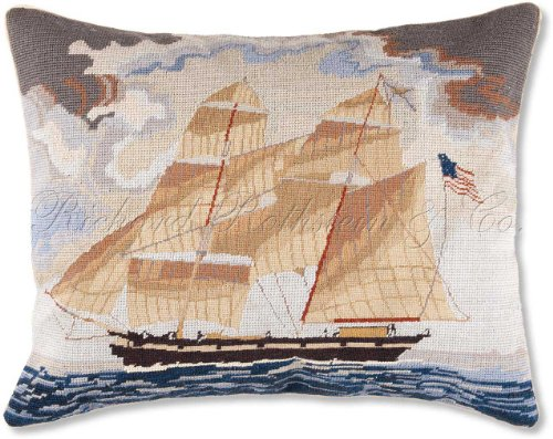 Handmade 100% Wool Colonial Williamsburg Tall American United States Ship Nantucket Beach Shore House Coastal Classic Traditional Maritime Schooner Needlepoint & Petit Point Decorative America's Cup Captain Boat Throw Pillow. 16'' x 20''. by NeedlepointPillows.com