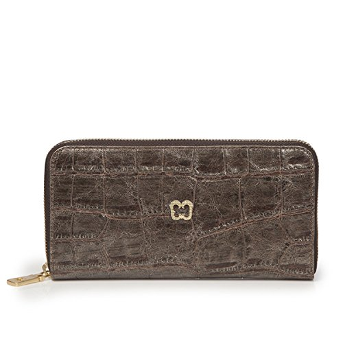 Eric Javits Luxury Fashion Designer Women's Handbag - Zip Wallet - Pewter by Eric Javits