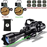 AR15 Tactical Rifle Scope Combo C4-16x50EG Hunting Dual Illuminated with Red Laser sight 4 Holographic Reticle Red/Green Dot for 22&11mm Weaver/Picatinny Rail Mount (4-16x50EG Bullet Green Laser)