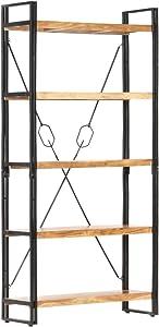"vidaXL Solid Acacia Wood 5-Tier Bookcase Wooden Book Rack Organizer Display Storage Shelf Storing Cabinet Rustic Living Room Study Furniture 35.4"""