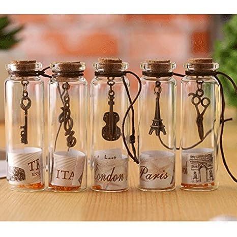 Itian Colgante de Suerte Mini Tapón Corcho de Botella Transparentes en Forma de Tarros de Cristal, Mini Botellas de Vidrio Tubos para Decoración DIY, ...
