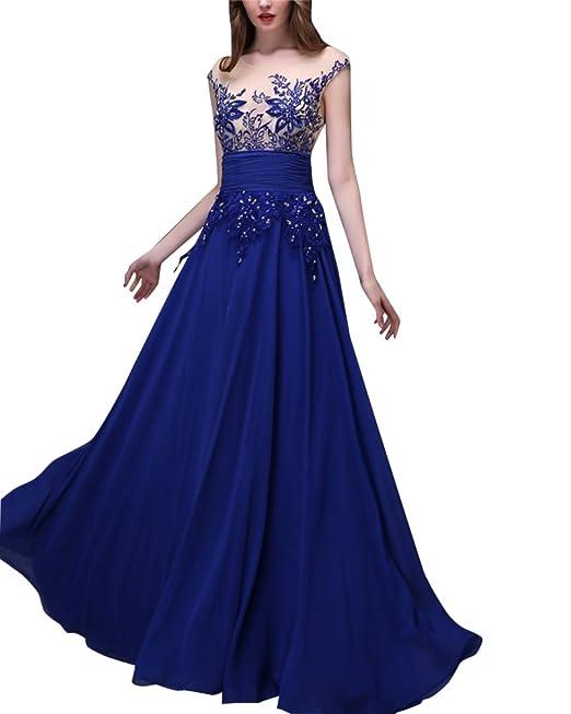 Mujer Vestidos De Noche Fiesta Formal Vestidos Largos para Estilo Elegantes Sin Manga Maxi Vestido Azul