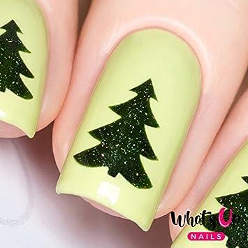 Whats Up Nails - Pine Tree Vinyl Stencils for Christmas Nail Art Design (1  Sheet, 20 Stencils)