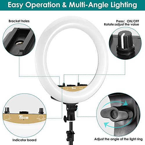 TBJSM Ring Light Kit 18 inch 6000K Dimmable LED Ring Light with Light Stand Carrying Bag Cold Shoe Adapter for Camera Smartphone iPad YouTube TikTok Self-Portrait Shooting Black