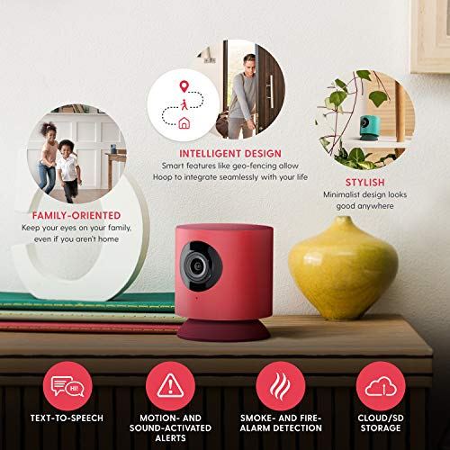 Hoop Home Security Camera, 1080p IP Indoor Wired Video Surveillance System, Sound/Motion Detection, 130° View Angle, Text to Speech, 2-Way Audio, Reminders, Live View Smart App | Family & Pet Friendly
