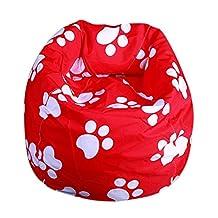 Qianle Fahsion Washable Single Sofa Cartoon Print Bean Bag Chair Red Foot