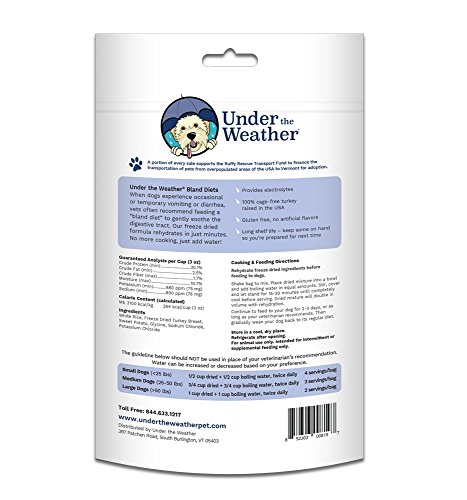 Product image of Under the Weather Easy to Digest Bland Dog Food Diet for Sick Dogs - Contains Electrolytes - Gluten Free, All Natural, Freeze Dried 100% Human Grade Meats (Rice, Turkey, and Sweet Potato)