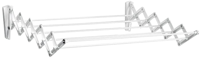 Polder Retractable Folding Clothes Dryer, Wall Mountable, 7 Rods Expand and Contract for Air Drying, Includes 2 Mounting Brackets for Multi-Room Set-Up, White