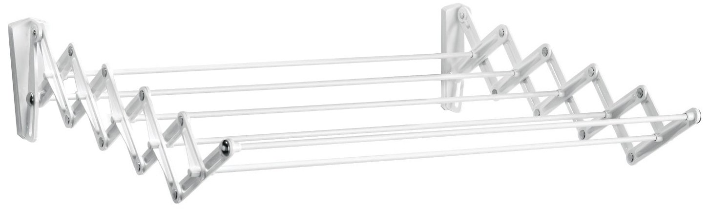 Polder Retractable Folding Clothes Dryer, Wall Mountable, 7 Rods Expand and Contract for Air Drying, Includes 2 Sets of Mounting Brackets for Multi-Room Set-Up, White