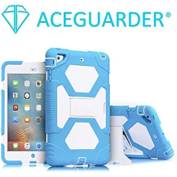 iPad Mini 3 Case, ACEGUARDER Full Body Protective Cover with Built-in Screen Protector & Adjustable Kickstand for Apple iPad Mini 1 2 3 (Blue White)