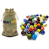 """Naturesroom Glass Shooter Marbles for Kids - 1"""" Shooter Marbles for Games and Home Decorations - Set of 50 Assorted Colors Bulk with Storage Bag"""
