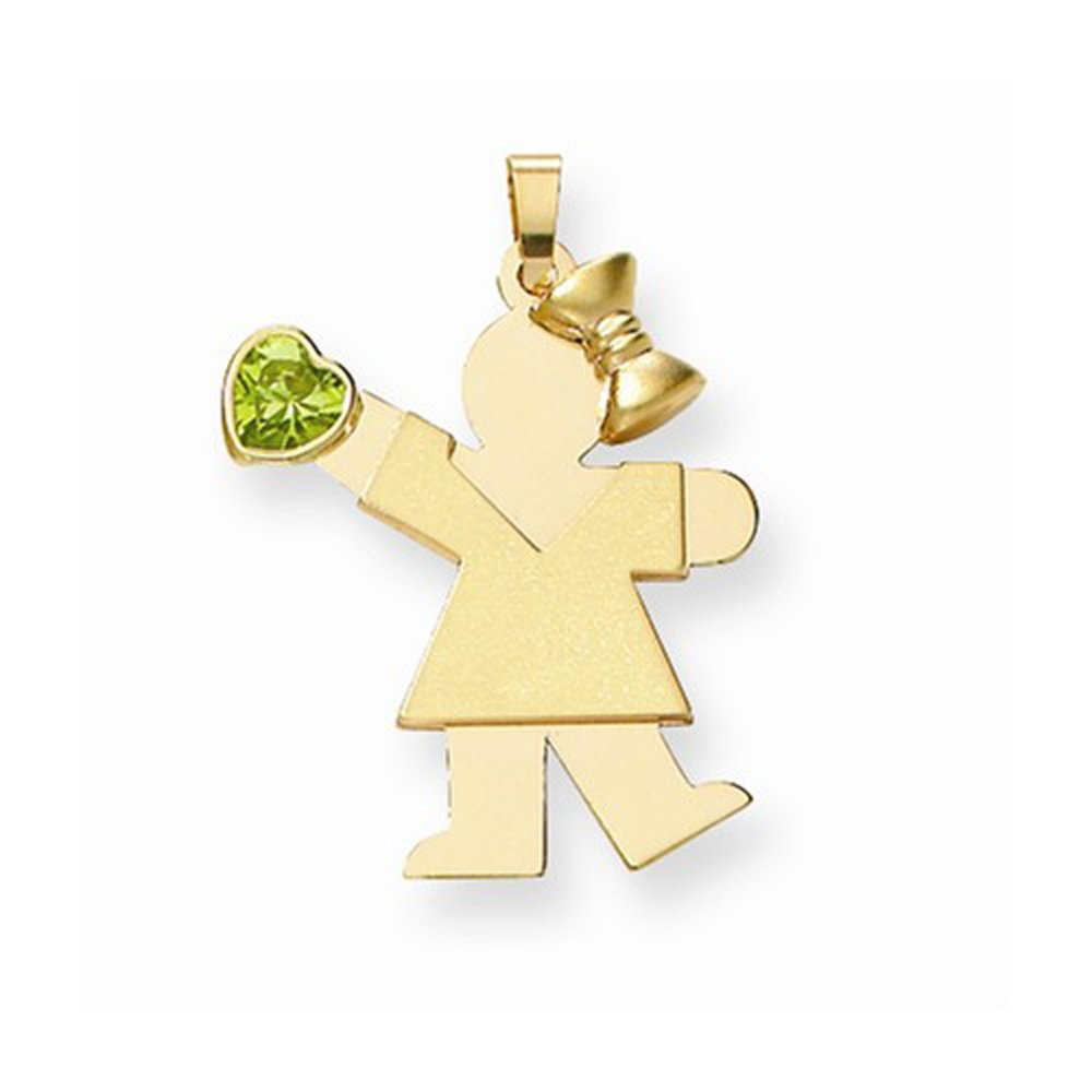 14K Yellow Gold Girl with Light Green CZ August Birthstone Charm Pendant