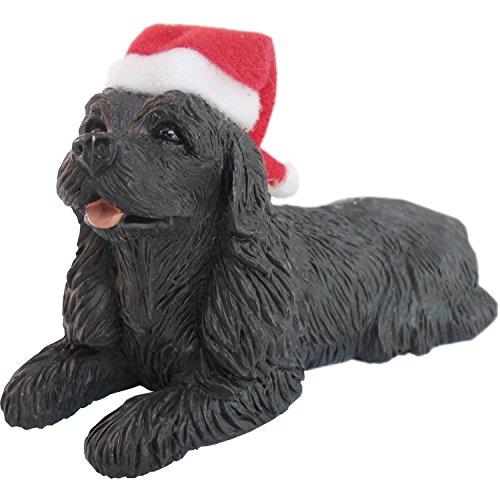 (Sandicast Black Cocker Spaniel with Santa Hat Christmas Ornament)