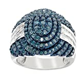 Sterling Silver 1.00ct Blue and White Tapered Baguette Diamond Wide Ring