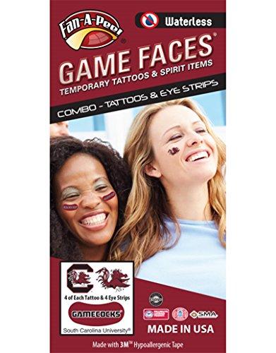 University of South Carolina (USC) Gamecocks - Waterless Peel & Stick Temporary Tattoos - 12-Piece Combo - 4 Garnet/Black Cocky C Logo & 4 Garnet/Black Cocky Logo Spirit Tattoos & -