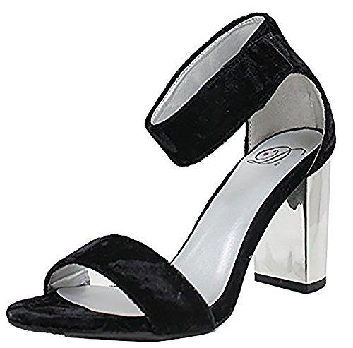 Delicious Womens Open Toe High Heel Ankle Strap Dress Sandal Heeled-Sandals Black E