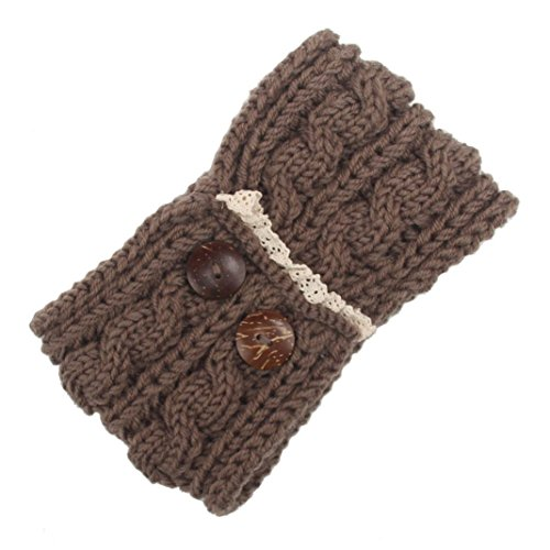Euone Women Bohemia Double Button Knitting Headband Handmade Keep Warm Hairband (Khaki) (Alien Princess Costume)