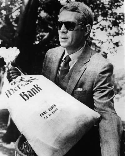 bb0a695934843 Steve McQueen in The Thomas Crown Affair in suit   Persol sunglasses  holding money bag 11x14 HD Aluminum Wall Art