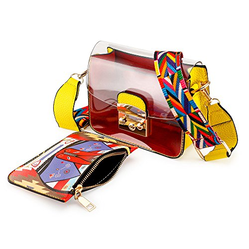 Plastic body Women Shoulder Transparent Durable Bag OCT17 PVC Cross Summer Yellow Mini YIxcpq4