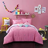 Better Homes and Gardens Soft and Cozy Pom Pom Kids Bedding Full Comforter Set for Girls (4 Piece in a Bag) - Pink