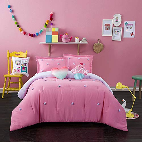 - Better Homes and Gardens Soft and Cozy Pom Pom Kids Bedding Full Comforter Set for Girls (4 Piece in a Bag) - Pink