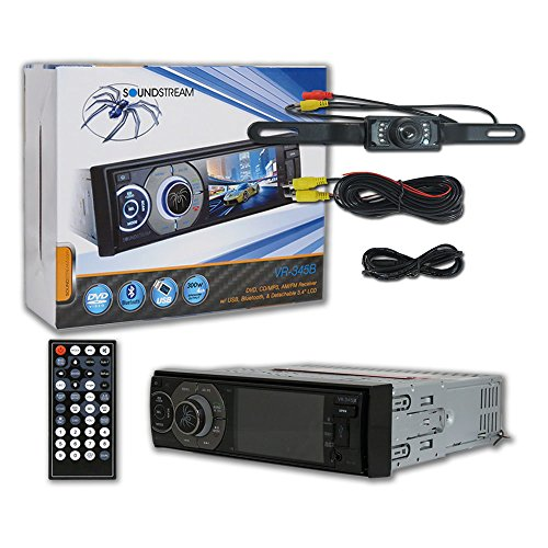 Soundstream VR-345B 1-DIN 3.4″ LCD DVD CD Receiver Detachable face Bluetooth + Remote & DCO Waterproof Backup Camera with Nightvision Review