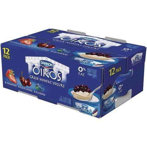 Oikos Strawberry Blueberry Black Cherry Nonfat Greek Yogurt, 5.3 Ounce -- 12 per case.