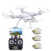 AICase® Syma X5SW FPV with 3pcs 500mAh Battery 2.4Ghz 4CH 6-Axis Remote Controlled Gyro RC Headless Quadcopter Drone UFO with HD Wifi Camera for Real Time Video Transmission