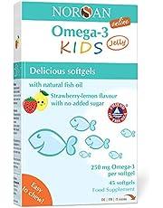 NORSAN Premium Omega 3 KIDS Jelly 45 - 1.000mg dagelijkse dosis - Meer dan 4000 artsen raden Norsan - Jelly voor kinderen makkelijk te kauwen, geen oprispingen