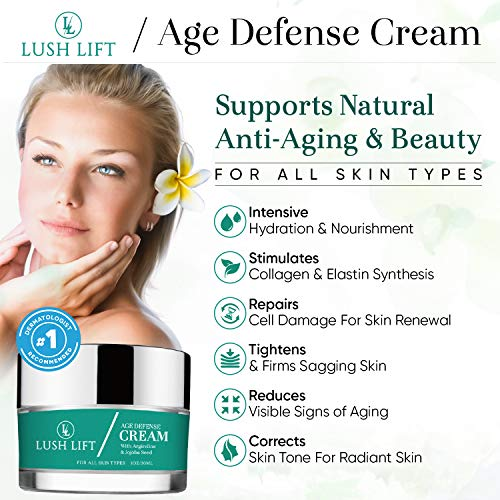 Lush Lift - Age Defense Cream - Anti-Aging Skincare for Fine Lines and Wrinkles - Collagen Production