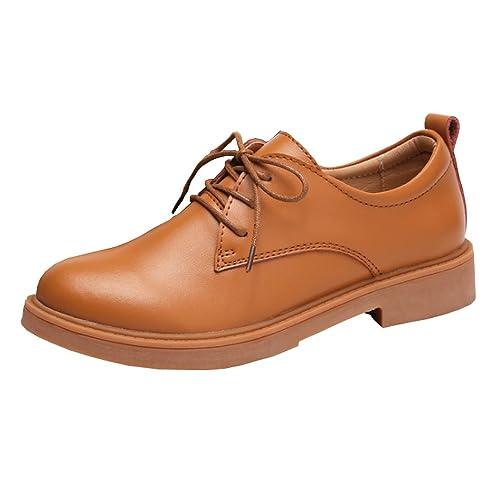 7d668bc1 Zapatos con Cordones para Mujer Oxford Plataforma 3 CM de Faux Piel Casual  Moda Student Business Zapatillas Marrón 35: Amazon.es: Zapatos y  complementos