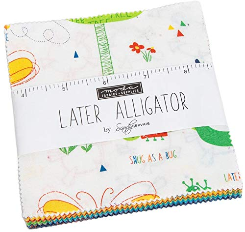 Later Alligator Charm Pack by Sandy Gervais; 42-5 Inch Precut Fabric Quilt Squares