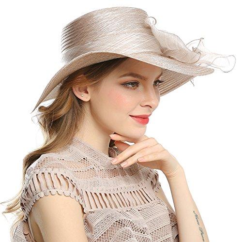 fdd29c0fc0872 WELROG Women s Derby Church Dress Hat - Fascinators Fancy Hats Wide Brim  Floppy Tea Party Wedding